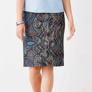 NEW JJill Paisley Jacobean Ponte Pencil Skirt LP